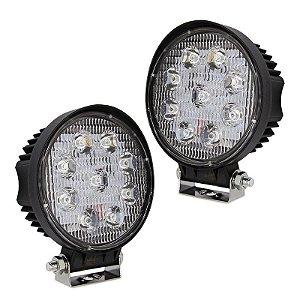 Farol de LED Redondo 27w 9 LEDs Auxiliar Milha Flood Prova D'Água 11,5cm - Par