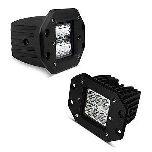 Farol de LED Milha Cubo 18w 6 LEDs 1620 Lumens 3 Pol 12cm - Embutir 12v - Par