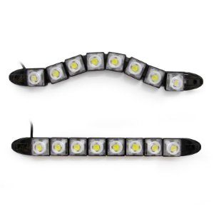 Barra Day Light DRL Flexível 12v Milha Branco Farol 08 LEDs 22cm - Par