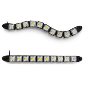 Barra Day Light DRL Flexível 12v Milha Branco Farol 10 LEDs 26cm - Par