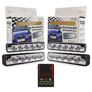 Kit Strobo Automotivo - 04 Farol LED 1040 Branco 15cm Prova Água + Controle 13 Efeitos - 12V
