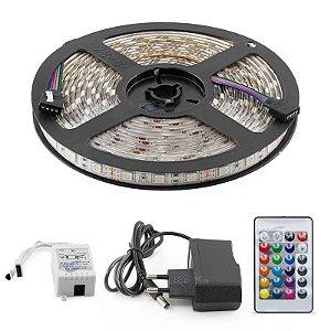 Fita de LED 5 Metros RGB 5050 Color - A Prova D´Agua + Fonte + Controle
