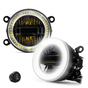"""Farol de Milha Auxiliar Universal 3.5"""" 9cm - 3 em 1 - Angel Eyes LED DRL + Neblina Amarela + Luz Branca - 60W Par"""