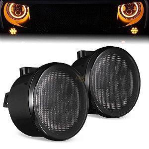 "Farol de LED 3.5"" Pol 8,8cm - Smoke Lens - Seta Frontal Laranja - Jeep Wrangler e Similares - Par"