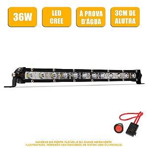 Farol de Milha Barra LED 36w 12 Leds CREE Slim Fina 34cm 12 Pol + Fuse / Botão - Und