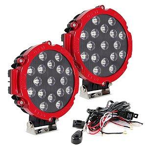 Farol de LED Milha 51w 17 LEDs Flood Vermelho Prova D' Água 18cm 7 Pol – Par