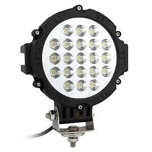 Farol de LED Milha 63w 21 LEDs Spot Preto Prova D' Água 18cm 7 Pol – Und