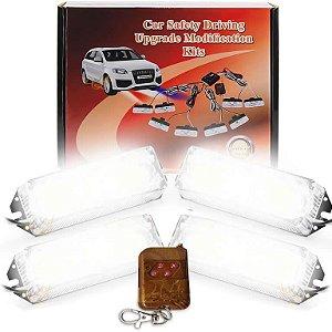Kit Strobo Automotivo 04 Farol LED Branco 24W - Prova d' Água + Controle Longa Distancia 12V