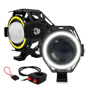 Farol de Milha Aux Moto 15W U7 3.000LM Luz Alta + Angel Eyes Branco + Controle Duplo + Porta Fuse - Par
