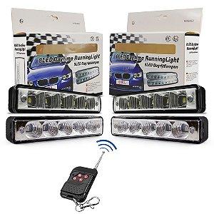 Kit Strobo Automotivo Oficial - 04 Farol LED Azul e Vermelho 15cm Prova Água + Controle Distância - 12V