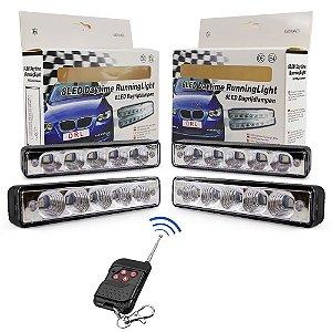 Kit Strobo Automotivo - 04 Farol LED Azul 15cm Prova Água + Controle Efeitos Longa Distância - 12V