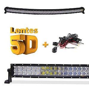 Farol de Milha Barra LED 300w 100 LEDs CREE Lente 5D - Curva - Spot+Flood 132cm 52 Pol + Chicote