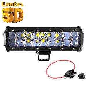 Farol de Milha Barra LED 54w 18 LEDs CREE Lente 5D Spot 23cm 9 Pol + Porta Fusível + Chave tic/tac