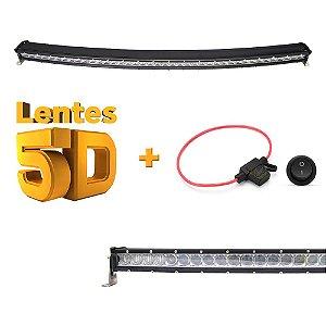 Farol de Milha Barra LED 200w 40 LEDs 5W CREE Slim Fina Lente 5D - Curva - 104cm 41 Pol