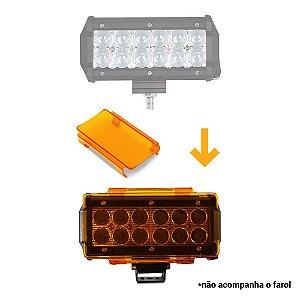 Kit 01 Lente Ambar Capa p/ Barra de LED 2 Linhas 15cm 6.5 Pol - Neblina - Sinalização