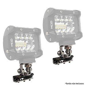 Suporte p/ Barra de LED Farol de Milha - Uso em Capô ou Porta - Par