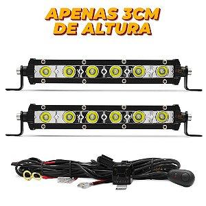 Farol de Milha Barra LED 18w 6 LEDs CREE Slim Fina 18cm 7 Pol + Chicote - Par
