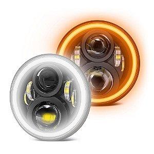 Farol 7 Polegadas LED 60W Angel Eyes DRL Milha Seta - 2a Geração - Par