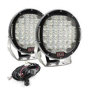 Farol de LED Milha 185w 37 LEDs de 5W Flood Preto  Parachoque 22cm 9 Pol + Chicote - Par