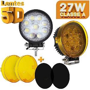 Farol de Milha LED 27w Redondo Lente 5D - 9 LEDs Flood 11cm + Tampas - Par