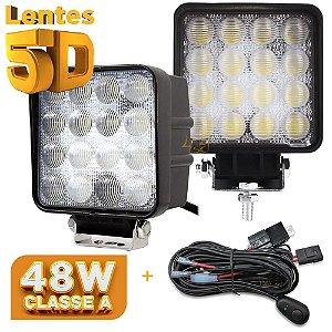 Farol de Milha LED 48w Quadrado Lente 5D - 16 LEDs Flood 10cm + Chicote - Par