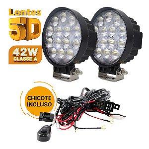 Farol de Milha LED 42w Redondo Lente 5D - 14 LEDs Flood 11cm + Chicote - Par