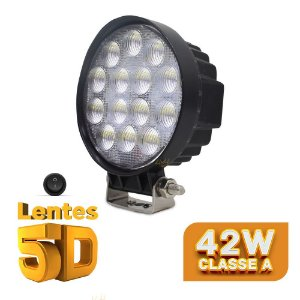 Farol de Milha Redondo 42w 5D 14 LED Auxiliar Flood  11cm Und + Botão