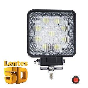 Farol de Milha Quadrado 27w 5D 9 LED Auxiliar Flood  11cm Und + Botão