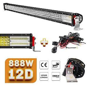 Barra de LED 50 Pol 128cm Lente 12D 888W 133200Lm Farol Milha Aux