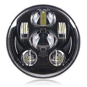 "Farol de LED Moto 5.75"" Pol - Daymaker 45W - Harley Honda Yamaha - Projetor Preto - Und"