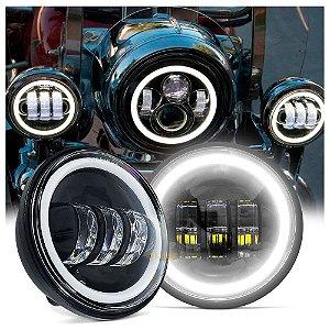 "Farol de LED Lateral 4.5"" Polegadas 30W - Moto Harley Davidson - Fundo Preto - Par"