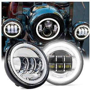 "Farol de LED Lateral 4.5"" Polegadas 30W - Moto Harley Davidson - Fundo Cromado - Par"