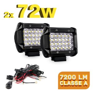 Farol de LED Auxiliar 72w 4 Linhas 7200LM - Milha Foco Spot - 9,5cm + Chicote - Par