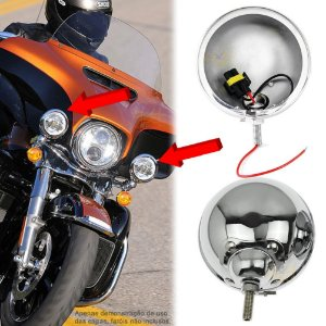 "Carcaça Capa p/ Farol LED Lateral 4.5"" Pol Moto Harley Davidson - Fundo Cromado - PAR"
