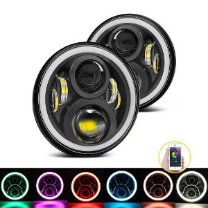 Farol 7 Polegadas LED 60W Angel Eyes DRL Milha - 2a Geração - RGB Bluetooth - Par