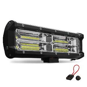 Barra de LED 11 Pol 25cm 7D 144W 12960Lm Farol Milha Flood 150º + Suporte Duplo + Válvula + Fuse + Botão - Und