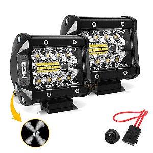 Farol de LED Auxiliar Milha MOD LEDs 4 Pol 60w 20 LEDs Combo Flood + Spot 9,5cm 12000Lm - Par