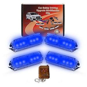 Kit Strobo Automotivo 04 Farol LED Azul 24W - Prova d' Água + Controle Longa Distancia 12V