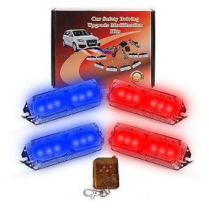 Kit Strobo Automotivo 04 Farol LED Azul + Vermelho 24W - Prova d' Água + Controle Longa Distancia 12V