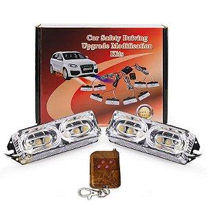 Kit Strobo Automotivo 02 Farol LED Azul + Vermelho 12W - Prova d' Água + Controle Longa Distancia 12V