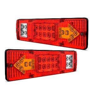 Lanterna Traseira / Sinaleira de Led p/ Caminhão Ônibus Carretinha - Seta Freio Ré 30cm 12v e 24v - Fundo Vermelho - Par