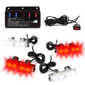 Kit Strobo Automotivo 08 Farol LED - Grade Frontal do Veículo - Branco e Vermelho