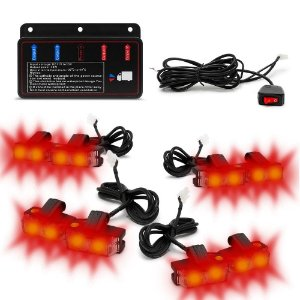 Kit Strobo Automotivo 08 Farol LED - Grade Frontal do Veículo - Vermelho