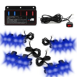 Kit Strobo Automotivo 08 Farol LED - Grade Frontal do Veículo - Azul