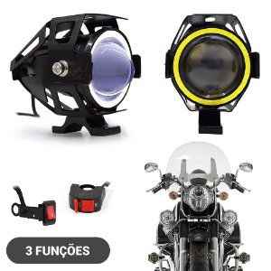 Farol de LED Milha Moto CREE U7 15w 3000 Lumens + Angel Eyes Branco - 3 Funções - Par
