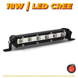 Farol de Milha Barra LED 18w 6 LEDs CREE Slim Fina 18cm 7 Pol + Botão - Und
