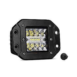 Farol de Embutir Milha LED 48w 12cm 16 LEDs Combo Flood + Spot 4320Lm - Und