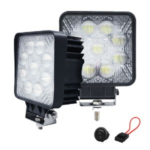 Farol de Milha Quadrado 27w 5D 9 LED Auxiliar Flood  11cm Par + Fuse Botão