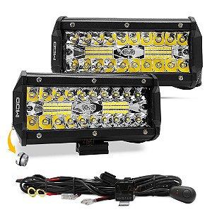 """Barra de LED 7"""" 16cm 7D 120W 10800Lm - Suporte Inferior + Chicote - Par"""