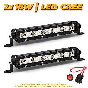 Farol de Milha Barra LED 18w 6 LEDs CREE Slim Fina 18cm 7 Pol + Fuse / Botão - Par